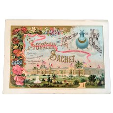 1885 Ricksecker's Souvenir Sachet De L'Exposition de New Orleans Exposition Trade Card Perfume World's Fair Cotton Centennial