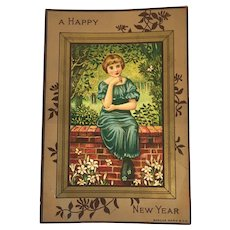 Marcus Ward New Year Card Victorian Chromolithograph Girl on Brick Wall and Flowers