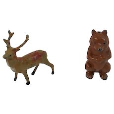 Miniature Metal Lead Stag England and Standing Brown Bear Great for Putz Displays Buck