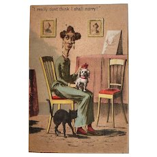 1882 Geo M Hayes Spinster Old Maid with Clack Cat and Dog Humor Card Victorian Era Litho I Really Don't Think I Shall Marry