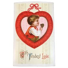 S Garre Clapsaddle German Valentine Postcard With Fondest Love Germany Boy in Heart