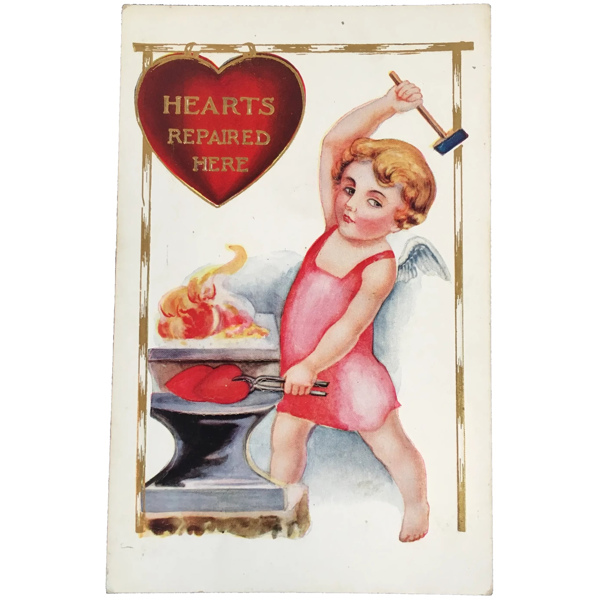 Valentine  Postcard Cupid Sharpening Arrow Embossed Hearts Made in Germany