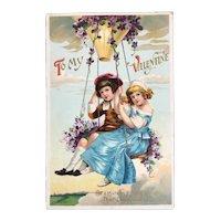 German Valentine Postcard Hot Air Balloon Swing with Children Embossed Germany Flowers