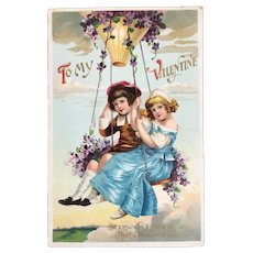German Valentine Postcard Hot Air Balloon Swing with Children Embossed Germany Flowers