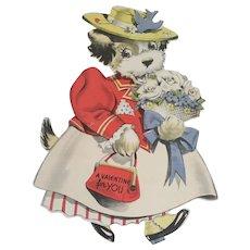 Walker Valentine Dressed Dog in Hat and Flowers Mechanical Die Cut Unused