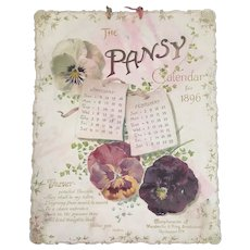 1896 Victorian Die Cut Calendar The Pansy Compliments of Mandeville and King Seedsmen Rochester NY Seed Merchants