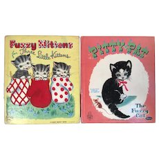 2 Vintage Whitman Flocked Books Fuzzy Mittens for Three Little Kittens and Pitty Pat the Fuzzy Cat Tell A Tale 1951 and 1954 Wuzzy