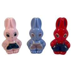 3 Rosbro Plastics Rattle Toys Easter Bunnies in Aprons and Overalls Pink Blue and Red Bunny Rattles