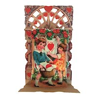 German Die Cut Stand Pop Up Valentine Card with Charming Poem Germany