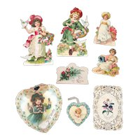 8 Pieces of Victorian Die Cuts Scrap for Valentine's Day Children Paper Lace Hearts
