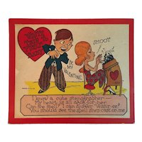 1930s Large Humorous Valentine Card with Stenographer