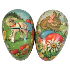 2 German Papier Mache Easter Egg Candy Containers Gnome Lamb Chick Bunny Rabbit