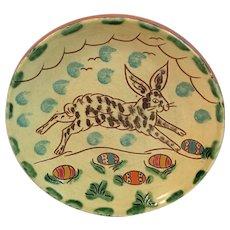 Breininger Pottery Easter Bunny Egg Redware Pottery Plate Pennsylvania Folk Art Red Ware Robesonia Shower Rabbit