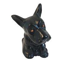 Papier Mache Scottie Dog Bank Black with Orange Eyes