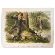 Victorian Valentine Card Chromolithograph Valentines Telephone Call in the Forest