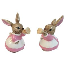 2 Vintage Musician Bunny Rabbit Horn Player Figurines Pink and White
