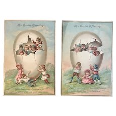 2 Large Victorian Easter Cards Embossed Chromolithograph Cracked Eggs and Cute Children