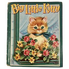1953 Big Little Kitty Whitman Tell a Tale Childrens Book by Jan D Biggers Cats Kittens Kitties