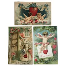 3 Antique German Valentine Postcards Cherubs Lady hearts Flowers Embossed