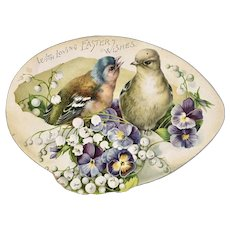 1891 Victorian Die Cut Easter Card Embossed with Birds and Flowers