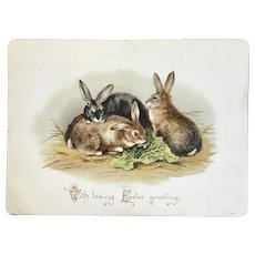 Victorian Easter Card Bunny Rabbits and Lettuce