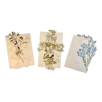 3 Raphael Tuck & Sons Die Cut Easter Cards with Flowers Victorian Embossed Printed in Germany German