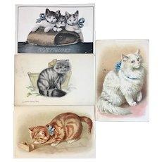 4 Antique Cat Postcards Kittens Kitty Cats Kitties