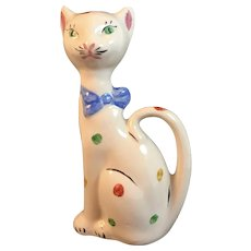 Mid Century Art Pottery Cat Figurine with Bow Tie and Polka Dot Decoration California MCM