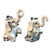 Boy and Girl Elephant Salt and Pepper Shakers Vintage Japan Ceramics