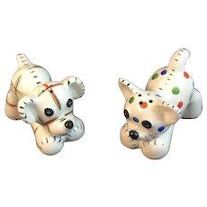 Plaid and Polka Dot Puppy Dog Salt and Pepper Shakers Vintage Japan Ceramics