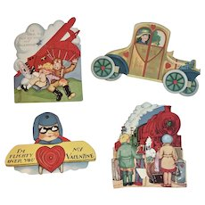4 Transportation Valentines Planes Train and Automobile Car Vintage Cards Airplane