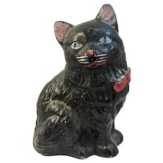Concrete Cat Doorstop with Original Paint Black Kitty with Red Bow Blue Eyes