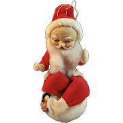 Santa On Paper Mache Snowball with Bottle Brush and Chenille Wreath Rubber Head and Felt Suit Candy Container