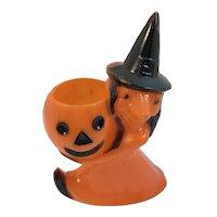 Rosbro Plastics Halloween Witch with JOL Jack O Lantern Pumpkin Candy Container