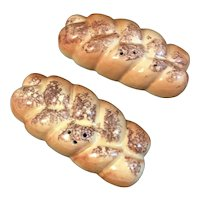 Braided Bread Loaf Salt and Pepper Shakers Vintage
