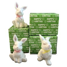 3 Enesco White Bunny Rabbit Figurines with Ribbons and Original Boxes Great for Easter Decoration