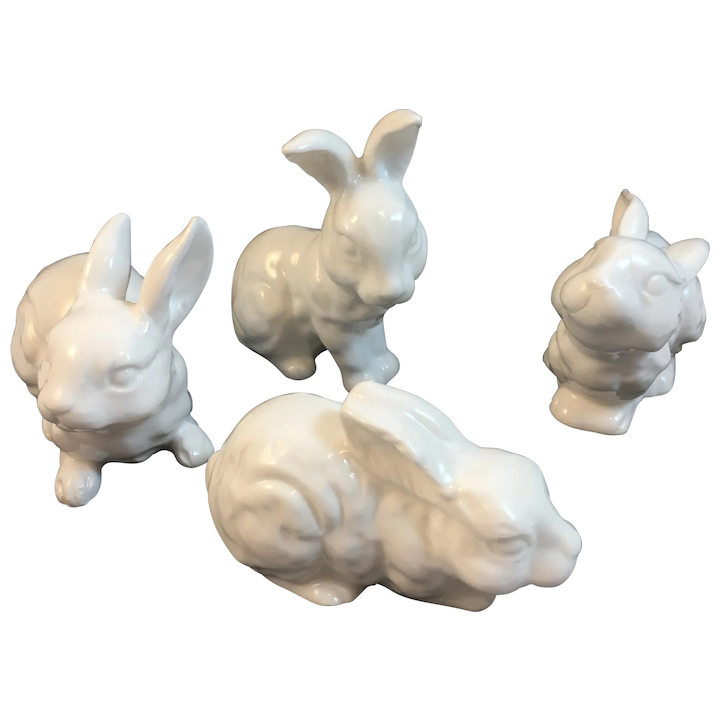 4 Midwest Of Cannon Falls Albino White Easter Bunny Rabbit Figurines Ss Moore Antiques Ruby Lane