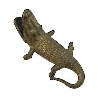 Cast Metal Alligator with Open Mouth