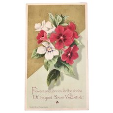1882 Prang Victorian Valentine Card with Pansy Pansies Flowers Chromolithograph