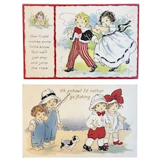2 Whitney Valentine Postcards with Cute Kids Humorous Undivided Backs