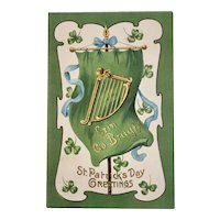 German St. Patrick's Day Embossed Postcard Erin Go Bragh Banner Harp and Shamrocks