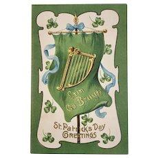 German St. Patrick's Day Embossed Postcard Erin Go Bragh Banner Harp and Shamrocks