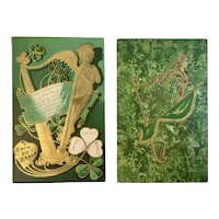 2 St Patrick's Day Embossed Harp Postcards Erin Go Bragh