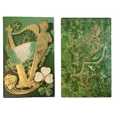 2 St Patrick's Day Embossed Harp Postcards Erin Go Bragh