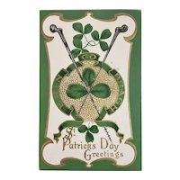 St. Patrick's Day Embossed Postcard Blackthorn Walking Sticks Erin Go Bragh Shamrocks Unused M.B. 200