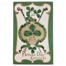 St. Patrick's Day Embossed Postcard Blackthorn Walking Sticks Erin Go Bragh Shamrocks Unused M.B. 200