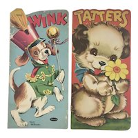 1949 1954 Wink and Tatters Whitman Die Cut Childrens Books with Puppy Dogs