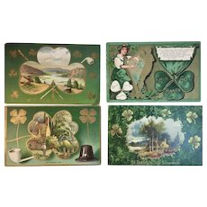 4 Antique St. Patrick's Day Embossed Postcards 1909 1910