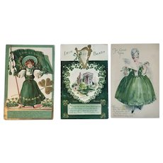 3 Antique St. Patrick's Day Embossed Postcards 1909