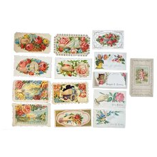 14 Victorian Calling Cards Diecuts Die Cut Scrap Flowers Rose Cat Children